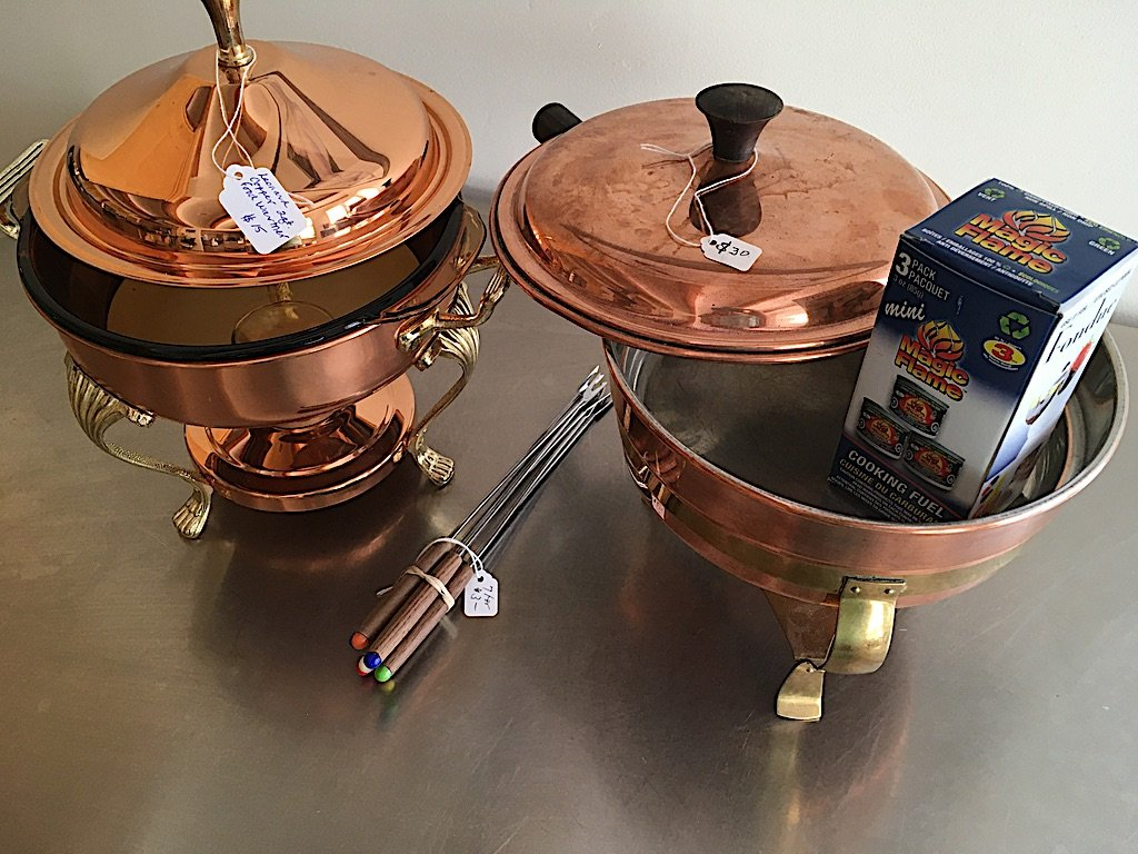 Vintage copper chafing dishes and fondue forks